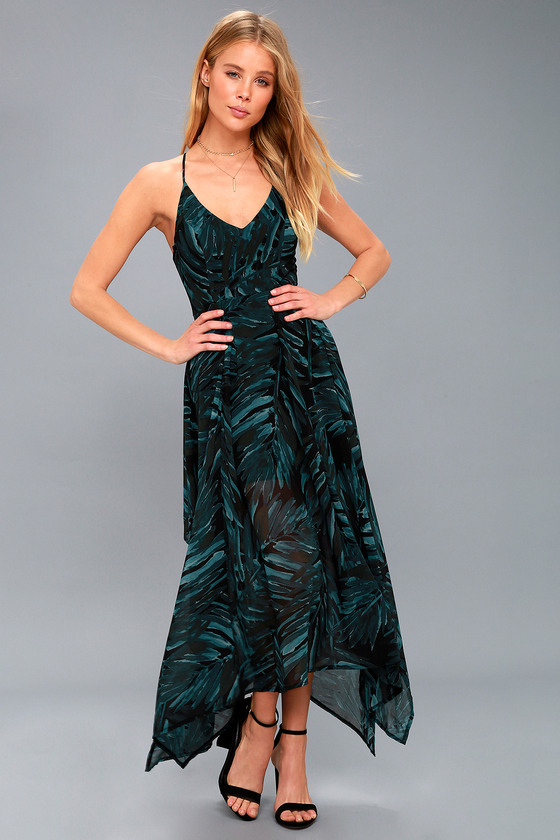 Lovely Black And Green Print Dress Midi Dress