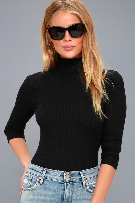 e2f0b62b81 Trendy Black Long Sleeve Bodysuit - Mock Neck Bodysuit