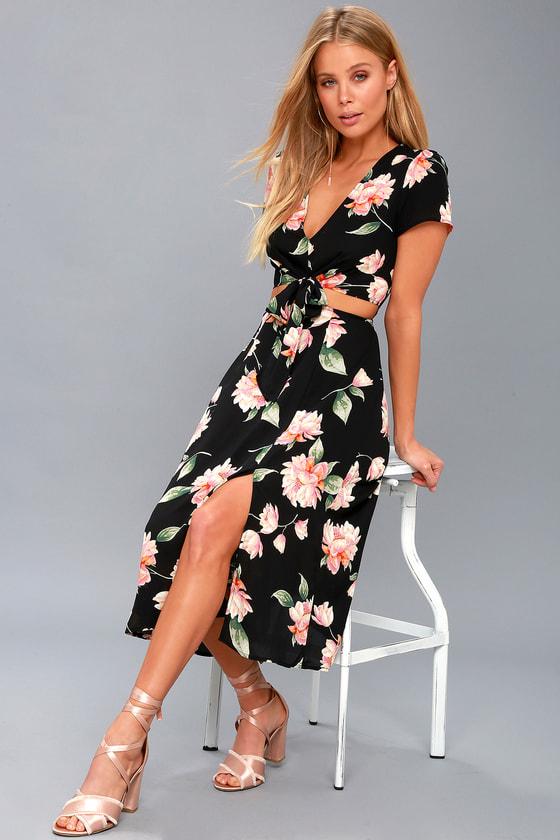 4dff410f3ebc Cute Floral Print Dress - Cutout Dress - Midi Dress
