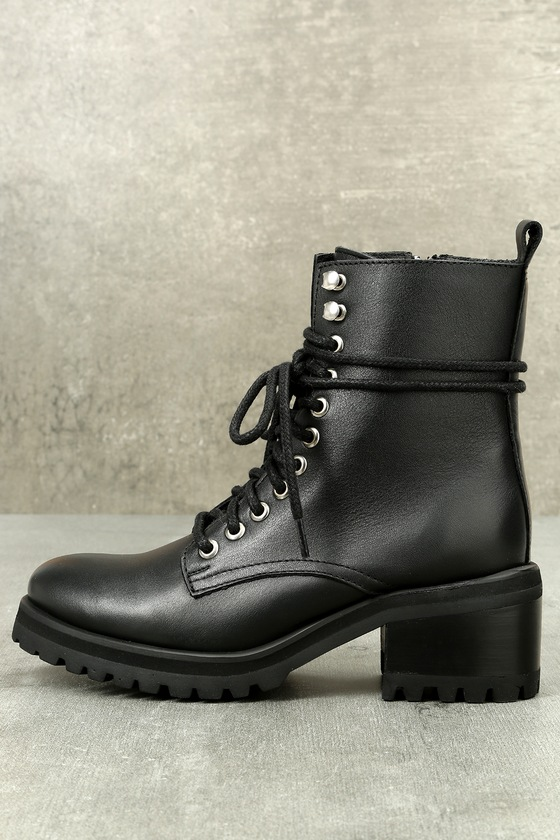 926c55f1666 Steve Madden Geneva - Leather Lace-Up Boots - Combat Boots