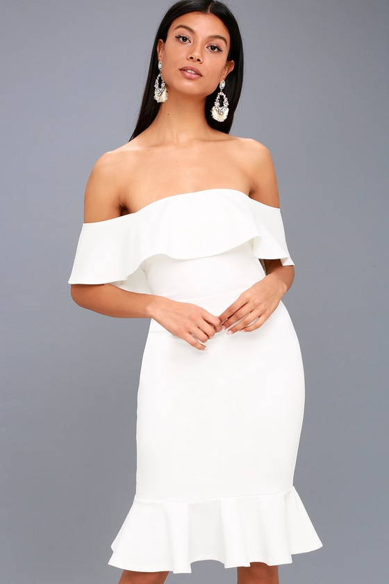 Confidence Boost White Off-the-Shoulder Bodycon Midi Dress