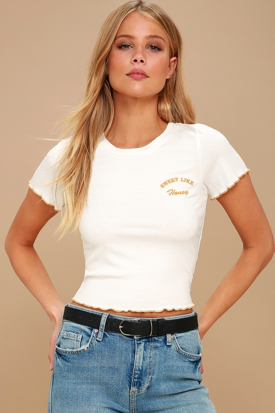 3c0f1a49284 White Cropped Tee - Embroidered Tee - Lettuce-Edge Crop Top