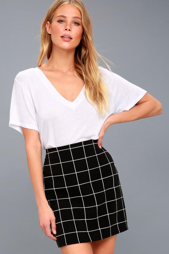 4d58e3976 Chic Black and White Skirt - Grid Print Mini Skirt