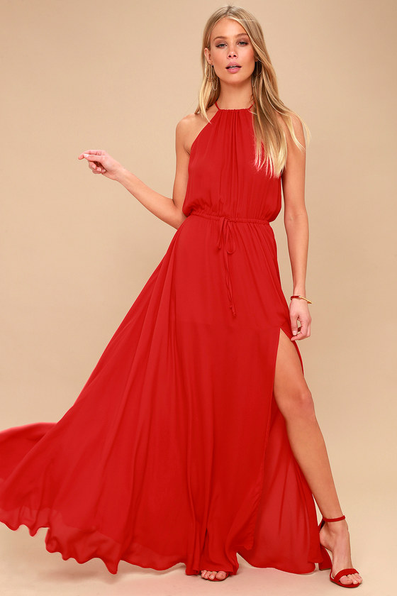 Essence of Style Red Maxi Dress