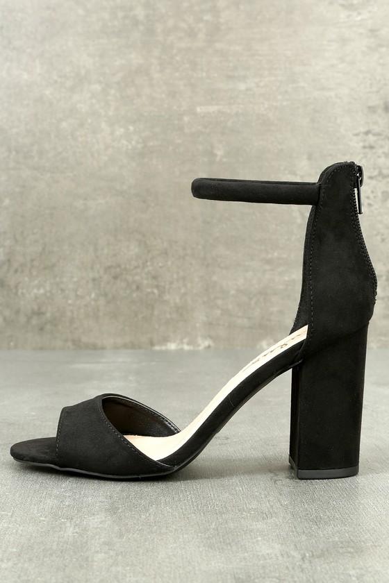 Black Suede Shoes - Black Heels - Ankle