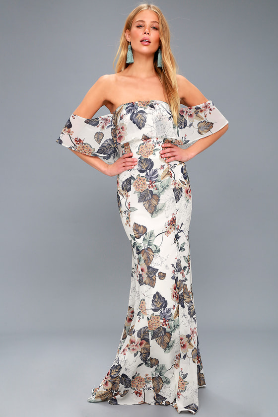 a00042c988 Ray of Sunshine White Floral Print Off-the-Shoulder Maxi Dress