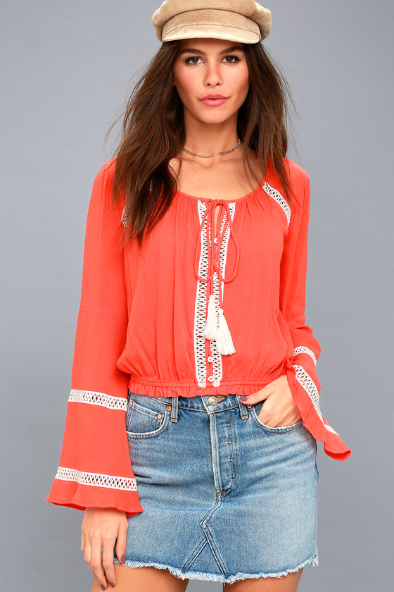 51b593c8f4b Cute Coral Crop Top - Long Sleeve Top - Crochet Lace Top