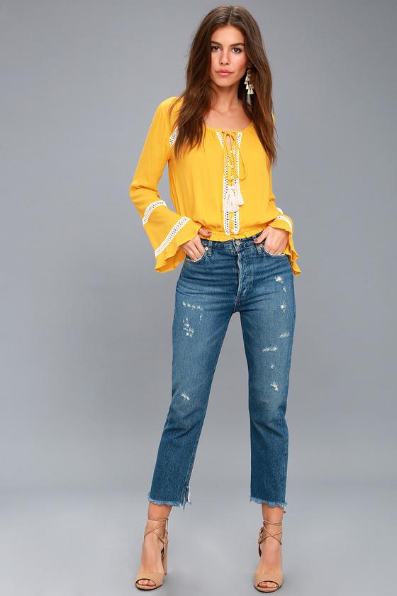 1f44628c6ea9f Cute Yellow Crop Top - Long Sleeve Top - Crochet Lace Top