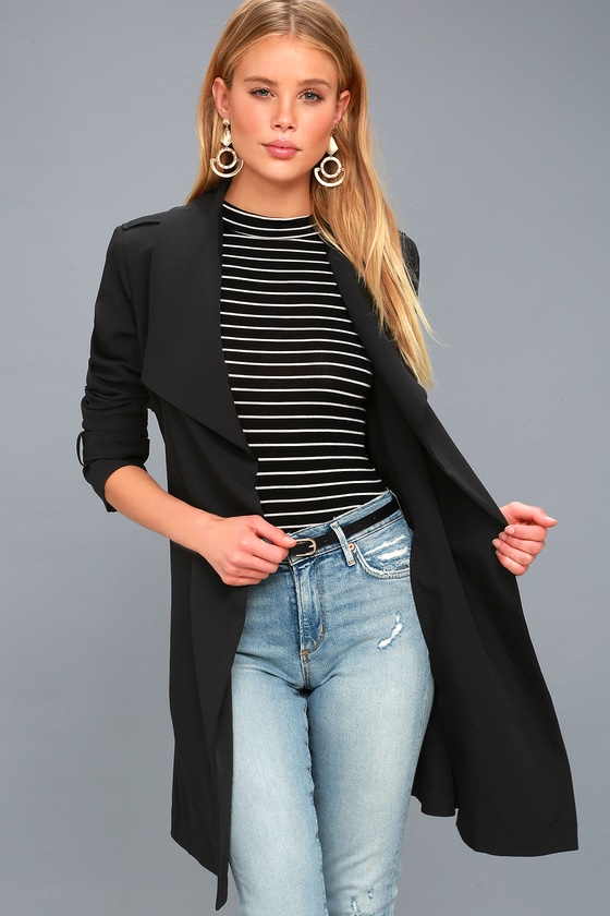 1529bc6c7e Chic Black Trench Coat - Belted Black Trench Coat