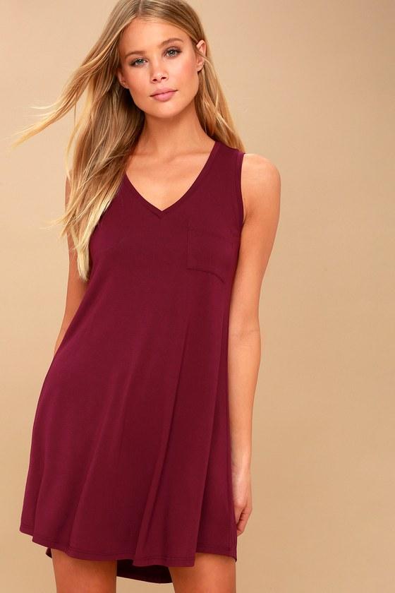 Cute Burgundy Swing Dress - Sleeveless Dress - V-Neck Dress 783cdf767