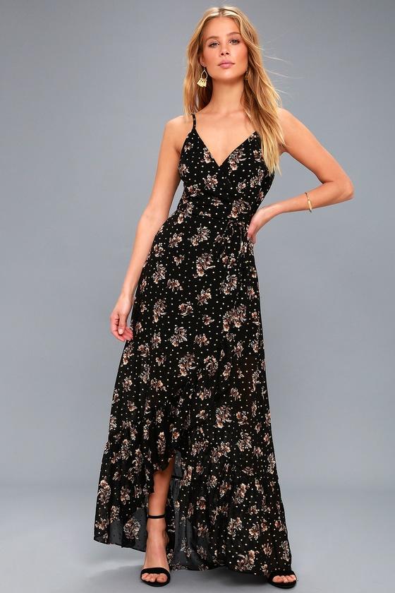 8b6e94a8e5 Lovely Black Dress - Floral Print Wrap Dress - Maxi Dress