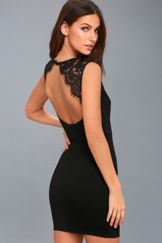 Black Lace Backless Dresses