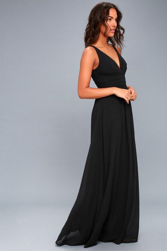 c7e3c4878cd2 Elegant Maxi Dress - Black Dress - Plunging Maxi Dress