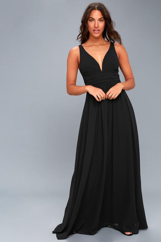 8a16fc45e5 Elegant Maxi Dress - Black Dress - Plunging Maxi Dress