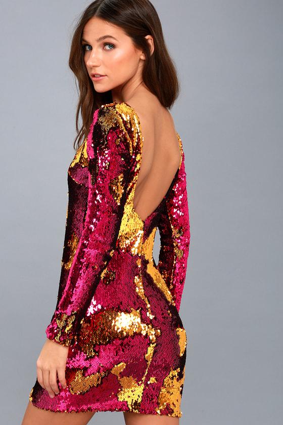 Dress the Population Lola - Gold and Fuschia Sequin Dress 1ff5c5ed2