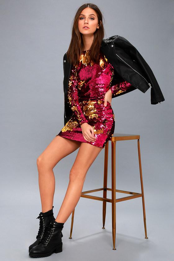 a7116e0d2f Dress the Population Lola - Gold and Fuschia Sequin Dress