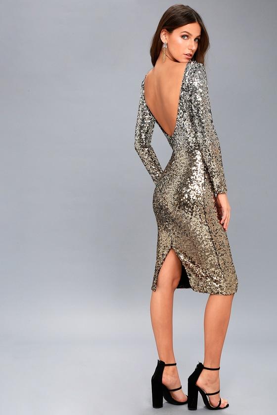 Dress The Population Emery Dress Gold Sequin Dress