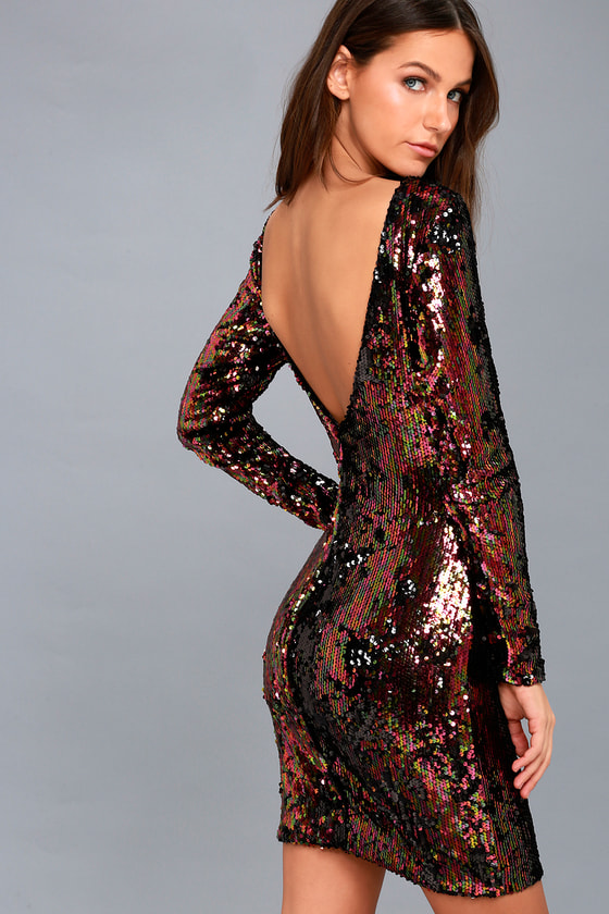 Dress The Population Lola Black Multi Sequin Dress