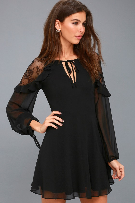 Chic Black Long Sleeve Lace Skater Dress