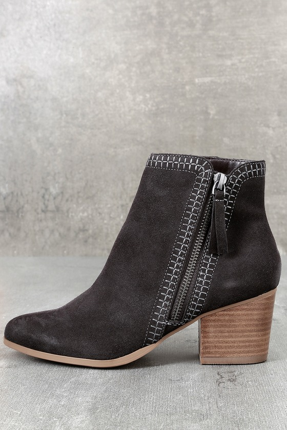 e4ef0ed98457 Sole Society Corinna - Dark Grey Suede Leather Ankle Booties