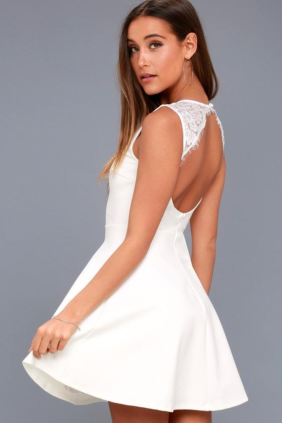 f1695b7455 Cute White Dress - Lace Skater Dress - Backless Skater Dress