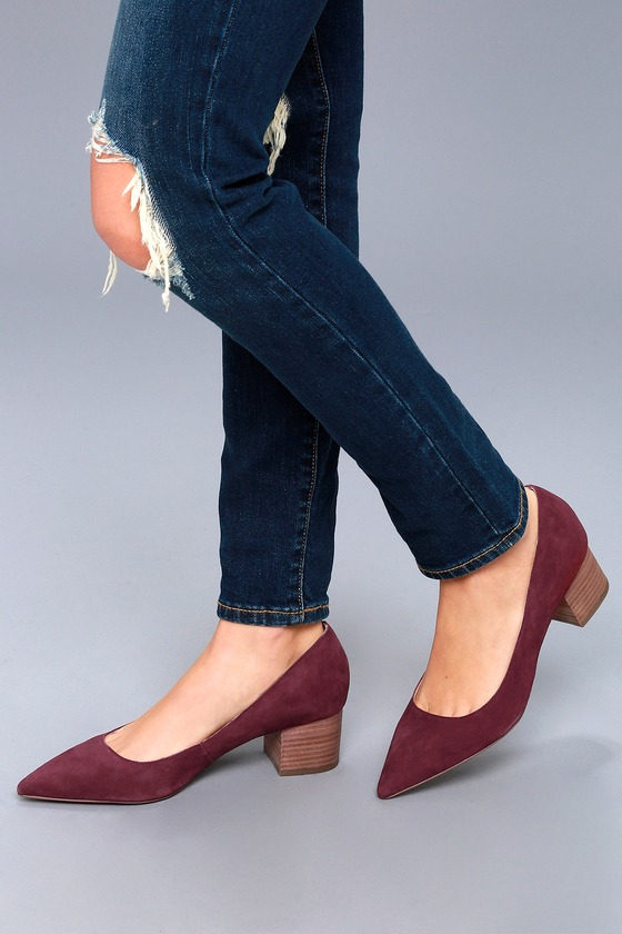 d60114b6578f Andorra Merlot Kid Suede Leather Pumps