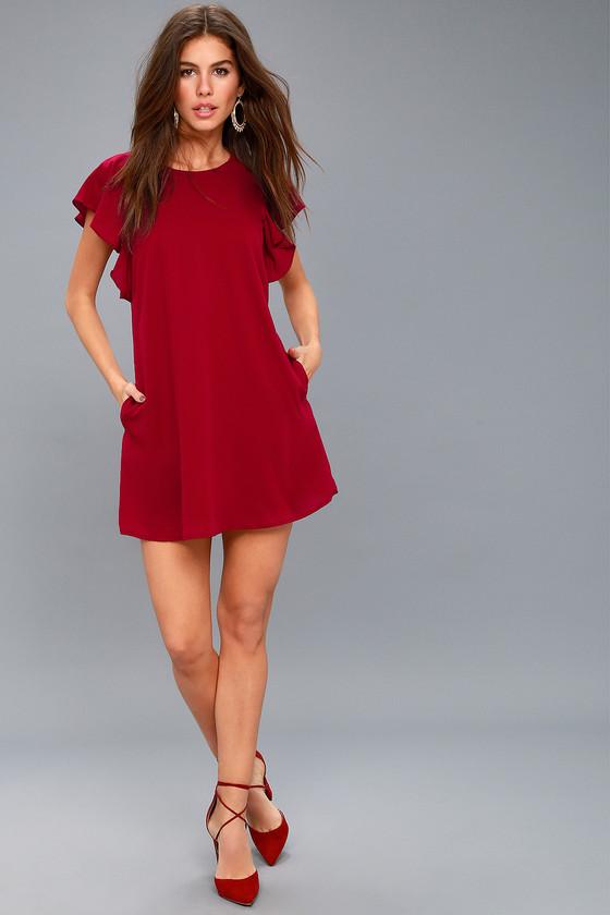 547e54a9b714 Cute Wine Red Dress - Short Sleeve Dress - Shift Dress