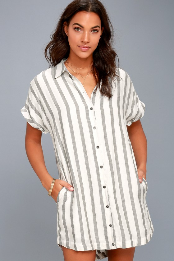 af0deb57029 Trendy Shirt Dress - Grey Striped Dress - White Shirt Dress