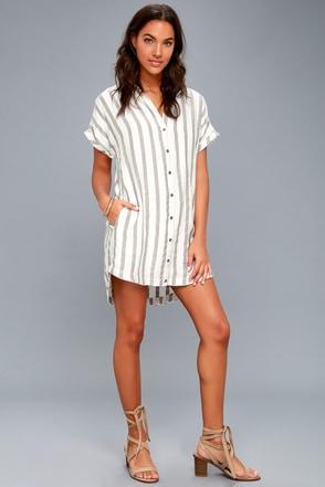 6c07c890e1 Trendy Shirt Dress - Grey Striped Dress - White Shirt Dress