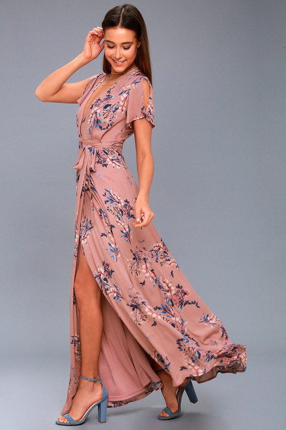 64d78cdf07f2d Pretty Rusty Rose Floral Print Dress - Wrap Maxi Dress