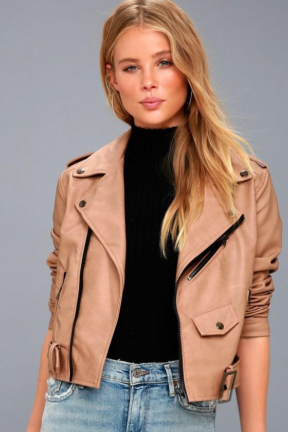 ae2b595456 Sleek Nude Jacket - Vegan Leather Moto Jacket