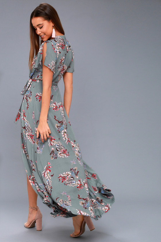 7115bde0882 Pretty Slate Blue Floral Print Dress - Wrap Maxi Dress