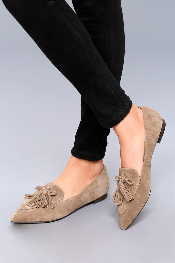 9ec4e34a48c Sole Society Hadlee - Taupe Suede Leather Loafers