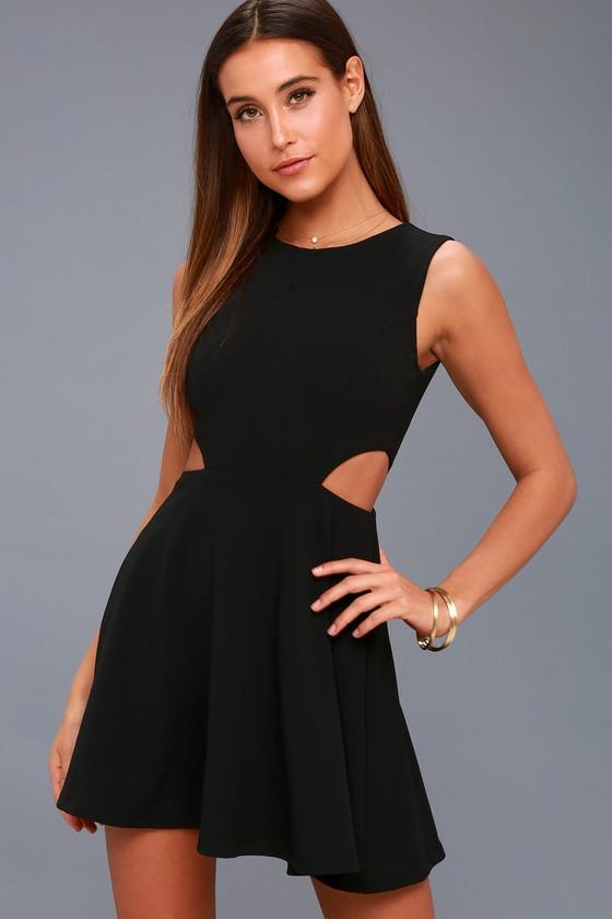 Chic Black Dress Skater Dress Cutout Dress Lbd