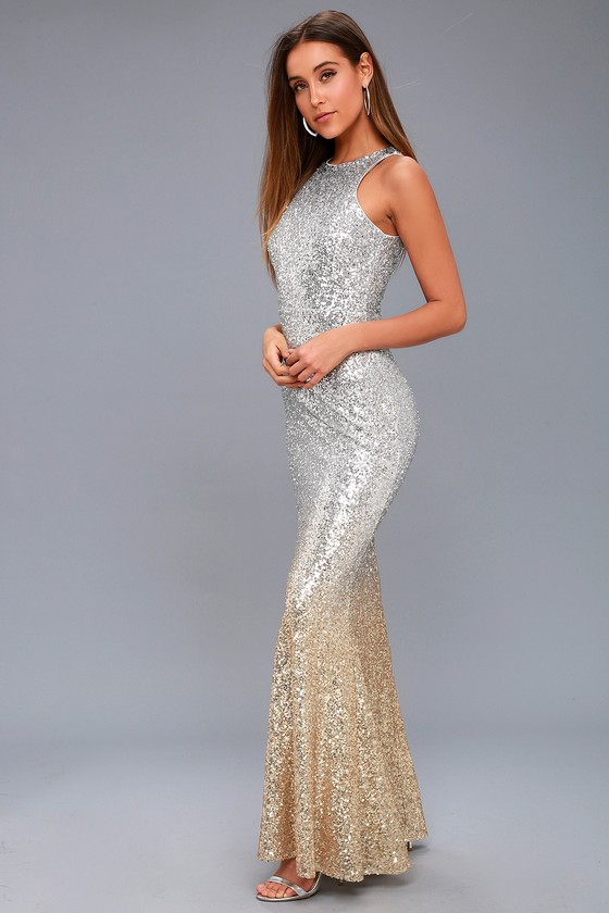 Stunning Sequin Dress - Silver Ombre - Mermaid Dress