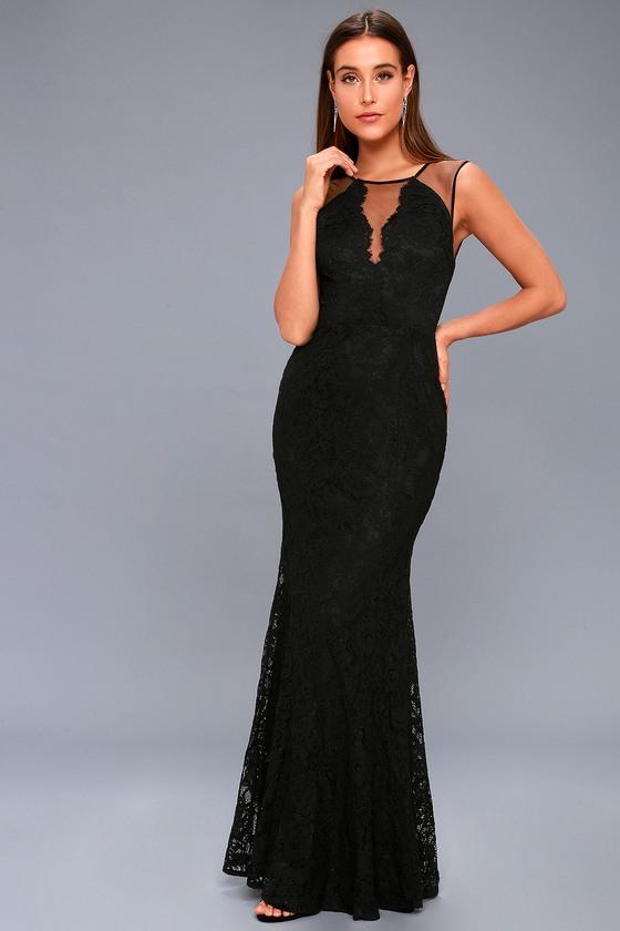 ca24fa24f Sexy Black Lace Dress - Lace Maxi Dress - Plunge Maxi Dress