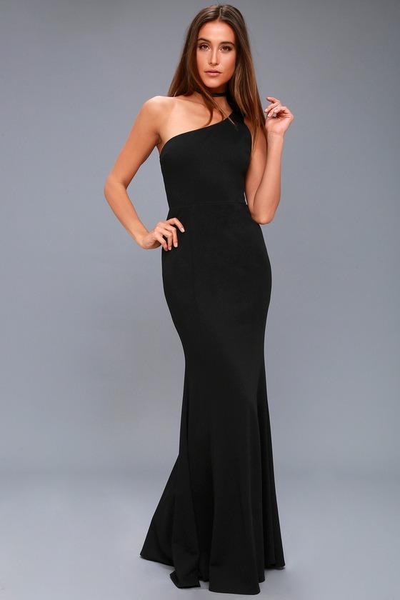 Lovely Black Maxi Dress - One-Shoulder DressOne Shoulder Black Prom Dresses