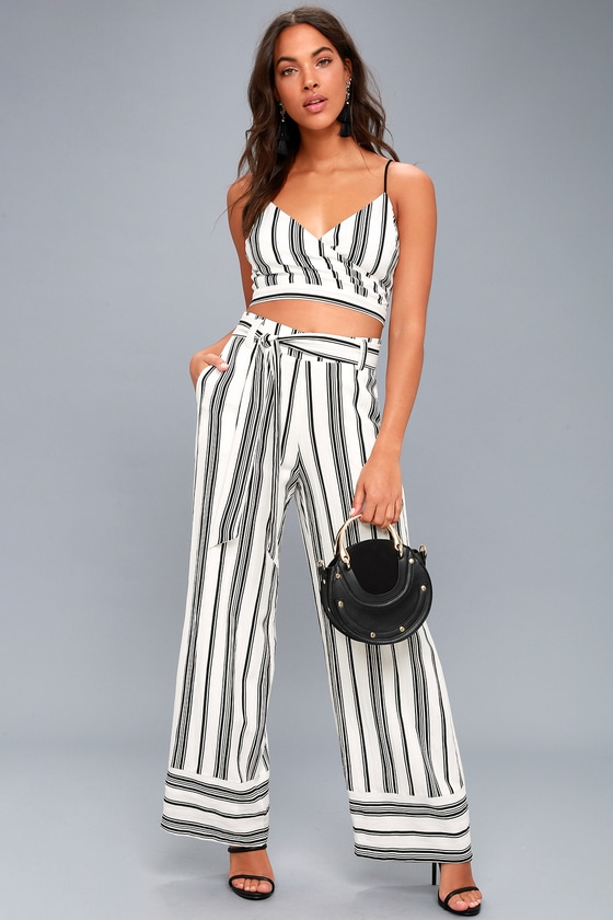 08e7f856775 Chic Black and White Two-Piece Set - Striped Jumpsuit