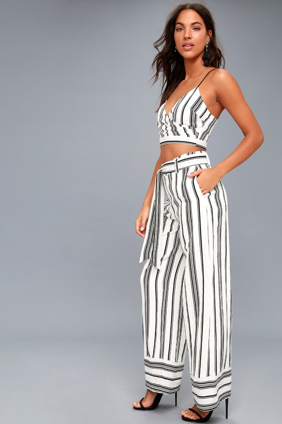 d4a2e9c402 Chic Black and White Two-Piece Set - Striped Jumpsuit