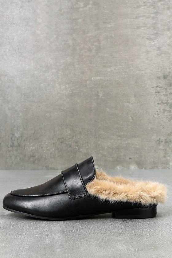 3b825df867c Steve Madden Kaden - Black Leather Faux Fur Loafer Slides -