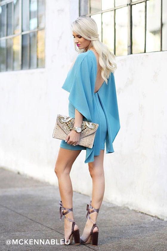 cae5ac1c2f1 Turquoise Blue Dress - Backless Dress - Cape Dress