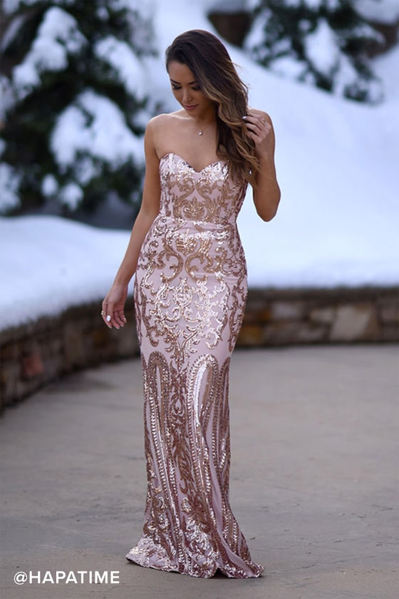 226ddd75c4c8 Bariano Rebecca Dress - Rose Gold Dress - Sequin Dress - Maxi Dress ...