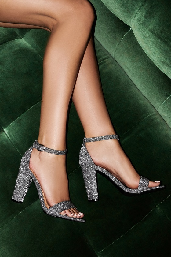 9fa8e876648 Stunning Metallic Heels - Pewter Ankle Strap Heels