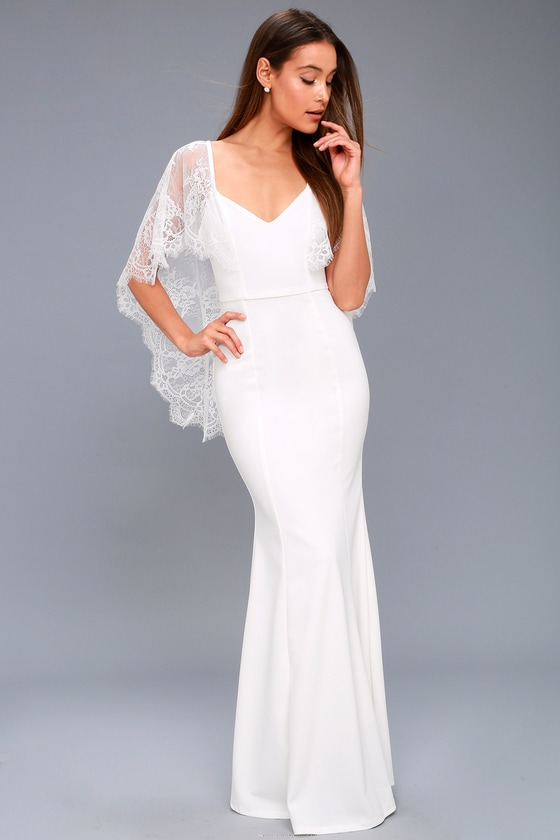 c4c7f35fd Lovely White Dress - Lace Dress - Maxi Dress - Cape Dress