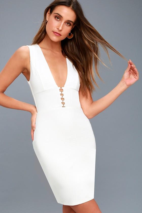 Sascha White Sleeveless Bodycon Dress