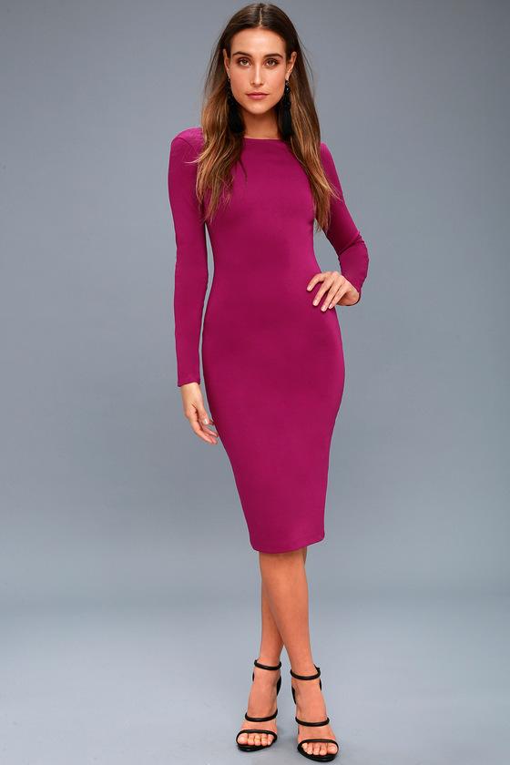 8e6e78744873 Sexy Magenta Midi Dress - Backless Bodycon Dress