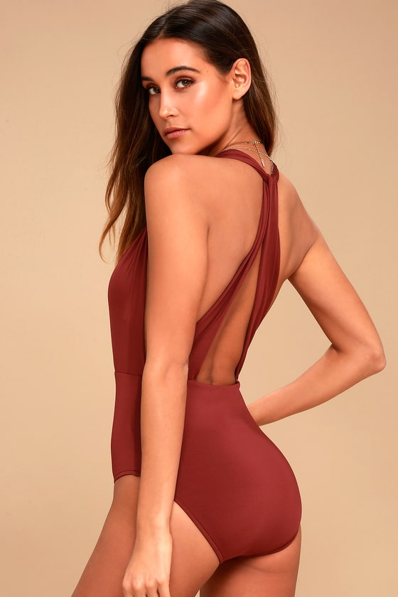 83b52981e09 Sexy Rust Red Swimsuit - Halter One Piece Swimsuit