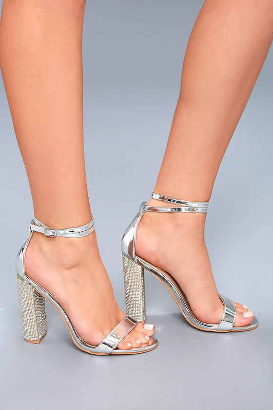 751c410256f Sexy Silver Heels - Vegan Leather Heels - Rhinestone Heels