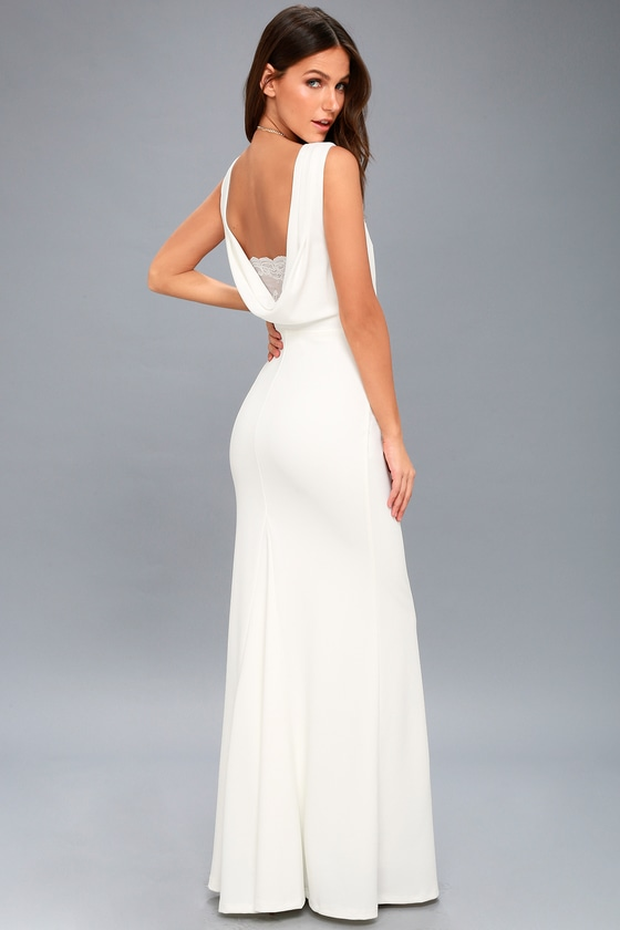 Way to Your Heart White Backless Maxi Dress