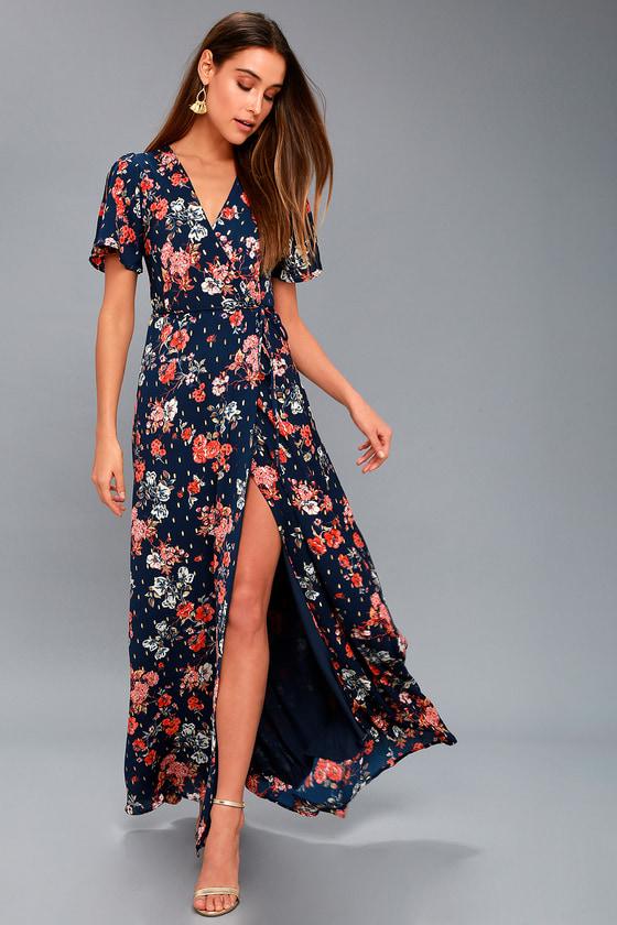 Floral Print Dress - Navy Blue Maxi Dress - Wrap Maxi Dress d00f6eadd8ee